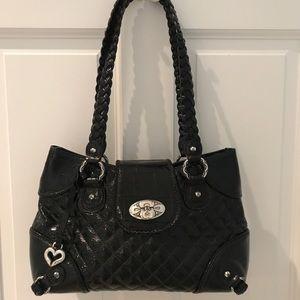 Brighton Black Quilted Patent Leather Handbag